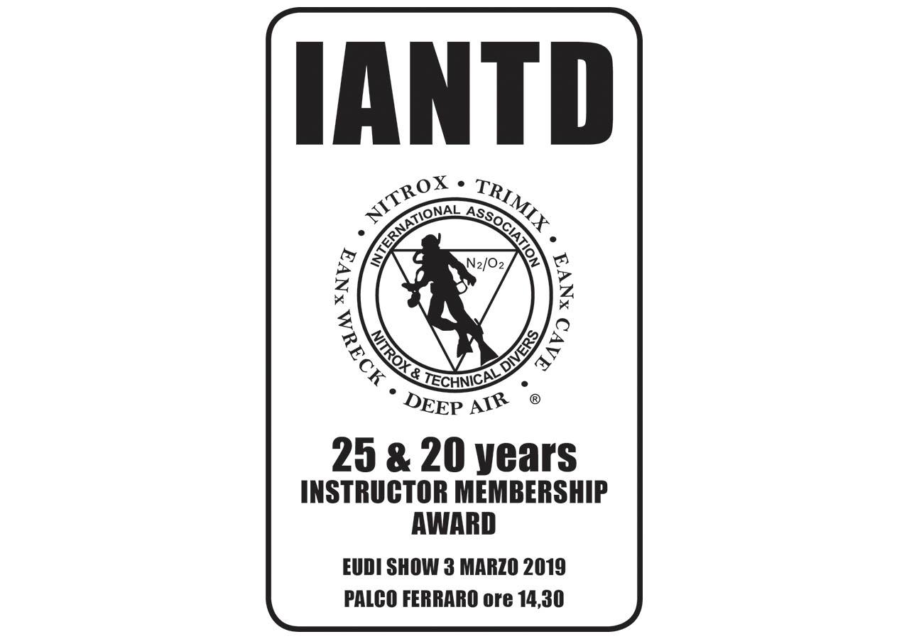 IANTD - 25 & 20 years instructor membership award